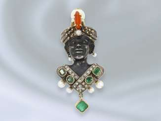 Brooch/needle: interesting, antique, and rare gold brooch wrought with diamond and color stone trim