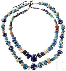 Two necklaces with antique beads of glass, modern threaded