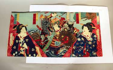Japanese woodcut including three pages with coloured Geishas and a warrior with horse