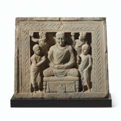 A GRAY SCHIST RELIEF OF BUDDHA SHAKYAMUNI IN MEDITATION