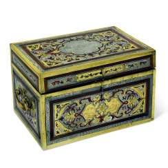 A GERMAN BRASS, PEWTER, SNAKEWOOD AND TORTOISESHELL 'BOULLE' MARQUETRY CASKET