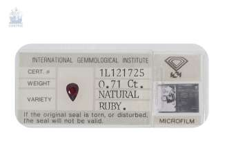 Ruby: natural ruby in a Pear Shape of 0.71 ct, including the IGI certificate, if left untreated