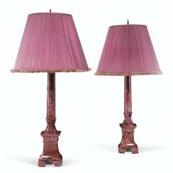 A PAIR OF RUSSIAN RHODONITE COLUMN-FORM LAMPS