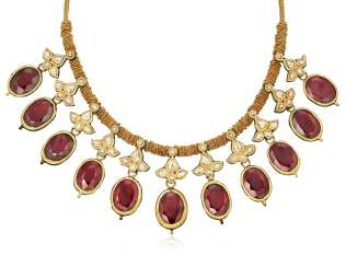 GARNET, DIAMOND AND ENAMEL INDIAN NECKLACE