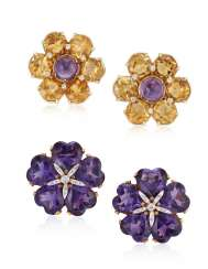 TWO PAIRS OF DIAMOND AND MULTI-GEM FLOWER EARRINGS