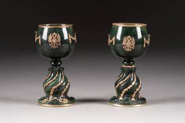 PAIR OF NEPHRITE-CUPS WITH DOUBLE-HEADED EAGLE DECOR