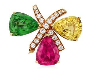 TIFFANY & CO. PALOMA PICASSO MULTI-GEM AND DIAMOND BROOCH