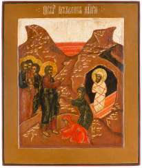 LARGE ICON WITH THE REVIVAL OF LAZARUS Russia