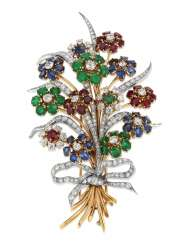 MULTI-GEM AND DIAMOND BOUQUET BROOCH