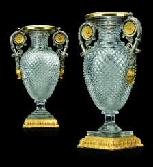 A PAIR OF RUSSIAN ORMOLU AND SILVERED-BRONZE MOUNTED CUT-GLASS VASES