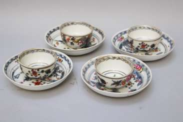 Four Vienna Porcelain cups with sauce, painted, 18.century