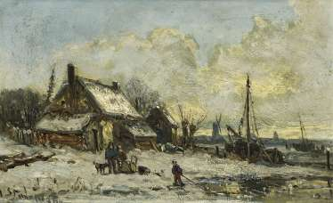 Dutch banks landscape in the Winter