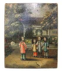 Anonyme Malerei mit Darstellung dreier Kinder und einer Dame vor einem Pavillon