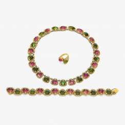 Demi Parure consisting of necklace, bracelet and Ring with tourmalines . Munich, jeweler THEODOR HEIDEN, 1960s-1970s