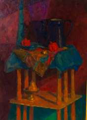 Still life with blue kettle