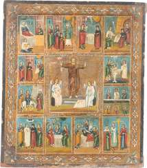 ICON WITH THE RESURRECTION OF CHRIST WITH THE TWELVE GREAT FEASTS OF THE ORTHODOX CHURCH YEAR