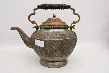 TEAPOT SMALL, engraved brass, the North of Africa 1. Half of the 20. Century
