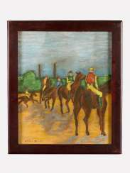 Artist 20.Century, horse riders, pastel on paper, framed, signed