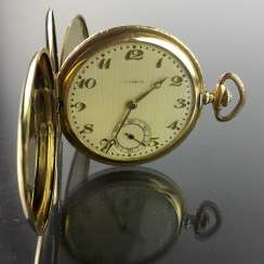 Mens pocket watch / watch: Three lid Gold 750 / 18 K, GERMINAL, anchor escapement and Kompensationsunruhum, very good.