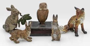 Five Viennese bronzes with native animals