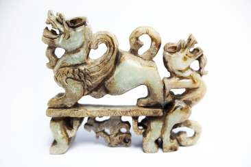 Chinese Jade figure of a double-dragon
