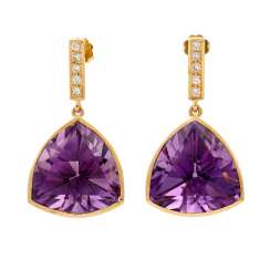 Exceptional earrings with amethyst and diamonds,