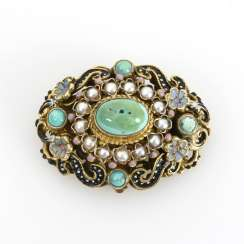 Brooch with turquoise and enamel