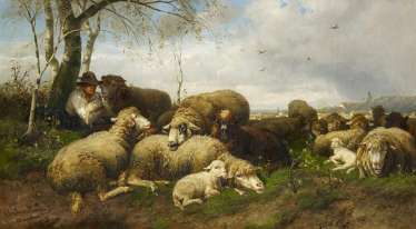 Mali, Christian Friedrich. Resting shepherd with his flock.