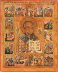 LARGE-FORMAT ICON WITH THE SAINT NICHOLAS THE WONDERWORKER WITH 16 SCENES OF HIS LIFE