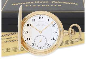 Pocket watch: fine, large, A. Lange & Söhne gold savonnette, No. 86303, with the master excerpt from the book and high-quality Box, CA. 1925