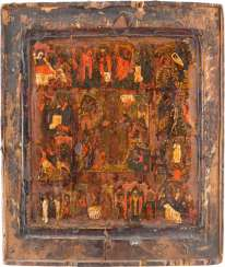 ICON THE RESURRECTION AND DESCENT INTO HELL OF CHRIST WITH THE TWELVE GREAT FEASTS OF THE ORTHODOX CHURCH YEAR