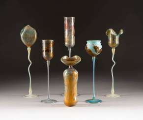 SET OF SIX GLASS OBJECTS. Design: Germany, glass manufactory Schmid, Karl and Wolfgang Schmid, among others, 1980s/1990s