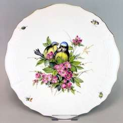 Institutional / Wall Plate: Meissen Porcelain Adorns. Decor, blue Tits and Red roses, Gold, very good.