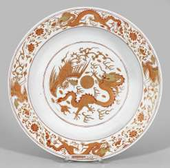 Large plate with dragon decor