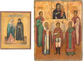 A SMALL ICON WITH SAINTS ANNA AND THE ICON OF THE MOTHER OF GOD, THE ARCHANGEL MICHAEL AND FOUR SAINTS