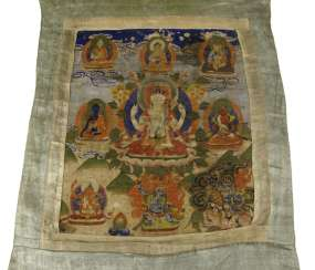 Thangka with depiction of the four-armed Avalokiteshvara