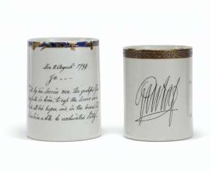 TWO RARE INSCRIBED EUROPEAN SUBJECT MUGS
