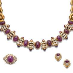 BULGARI RUBY AND DIAMOND NECKLACE AND EARRING SET; A RUBY AND DIAMOND RING