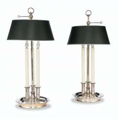 A PAIR OF SILVERED METAL BOUILLOTTE LAMPS