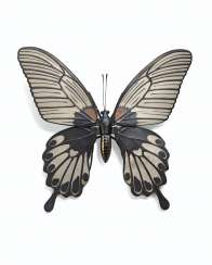 A SOFT-METAL-INLAID ARTICULATED SCULPTURE OF A BUTTERFLY