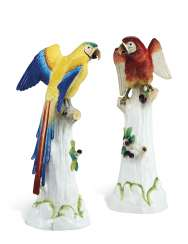 TWO LARGE DRESDEN (POTSCHAPPEL) MODELS OF PARROTS