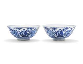 TWO CHINESE BLUE AND WHITE 'EIGHT IMMORTALS' BOWLS