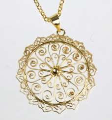Filigree pendant on silver chain