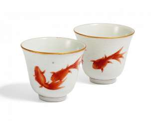 Pair of small cups with goldfish