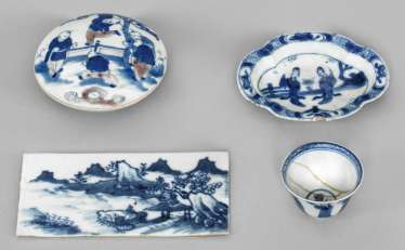 Four Blue And White Porcelains