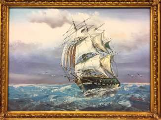 H. Haden: sailing ship / frigate in stormy seas. Oil on canvas, in ornate frame, very good.