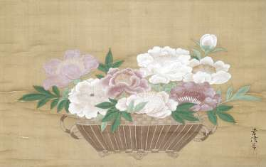Painting in the style of Kano Tsunenobu: peony bouquet in a basket, hanging scroll