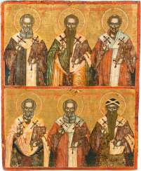 TWO FIELDS ICON DATED WITH SIX FATHERS OF THE CHURCH