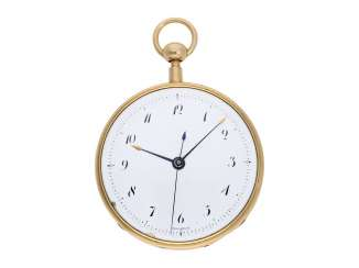 Pocket watch: extremely rare, early Lepine with Central second, and a Repetition, probably from the environment, Breguet's been signed Decombaz, No. 4812, CA. 1800
