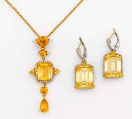 Mixed lot: citrine earrings and pendants